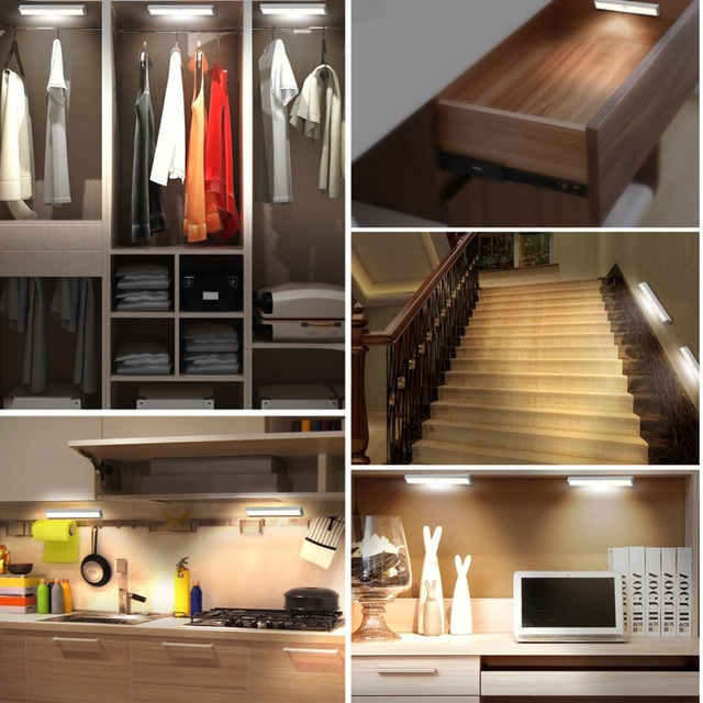 Mini LED Under Cabinet Light PIR Motion Sensor Lamp 10 LEDs 190mm lighting for Wardrobe Cupboard Closet Kitchen night light