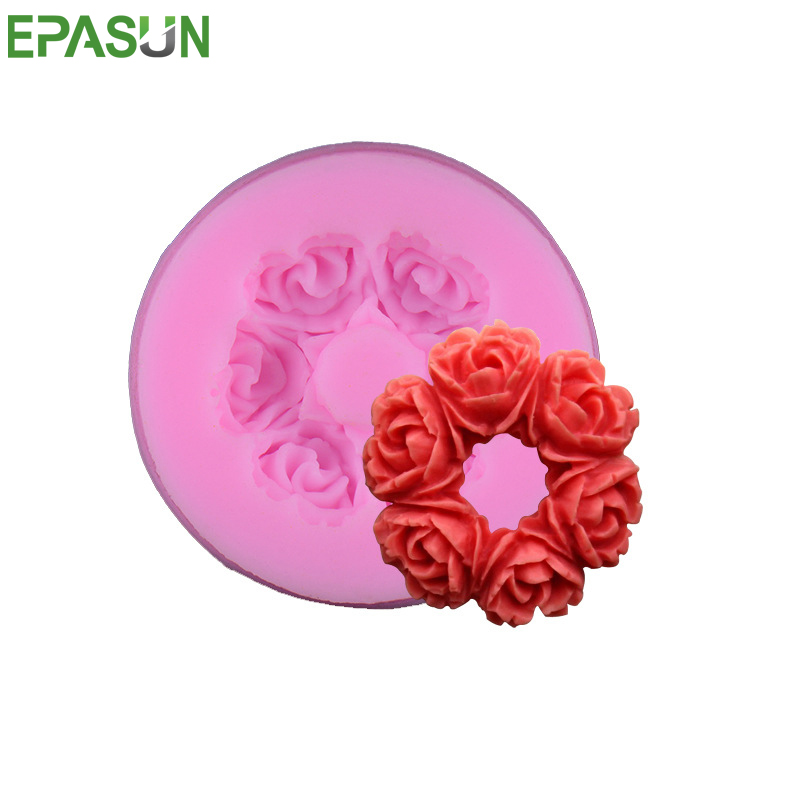 EPASUN 6 Rose Shape Silicone Mold For Soap Fondant Mold Form Cake Decorating Mould Chocolate Soap Molds Baking Mould Tools