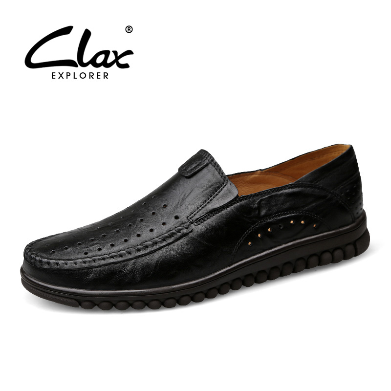 CLAX Men's Summer Leather Shoes 2017 Casual Loafers for Male Breathable Hole Shoe Vintage Retro Footwear Soft Comfortable clax men summer shoes slip on 2017 breathable male flats loafers fisherman shoe casual white boat footwear leather sandals