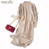 Goat Cashmere Dress 2018 Autumn Winter European Style Women Pure Goat Cashmere Floral Knitted Two Pieces Sweater and Skirt Sets