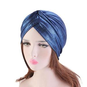 Image 4 - נשים הודי טורבן כובע ראש לעטוף כיסוי שיער אובדן סרטן חמו כובע קפלים כובע מוסלמי מצנפת בימס Skullies ערבי מטפחת כובע