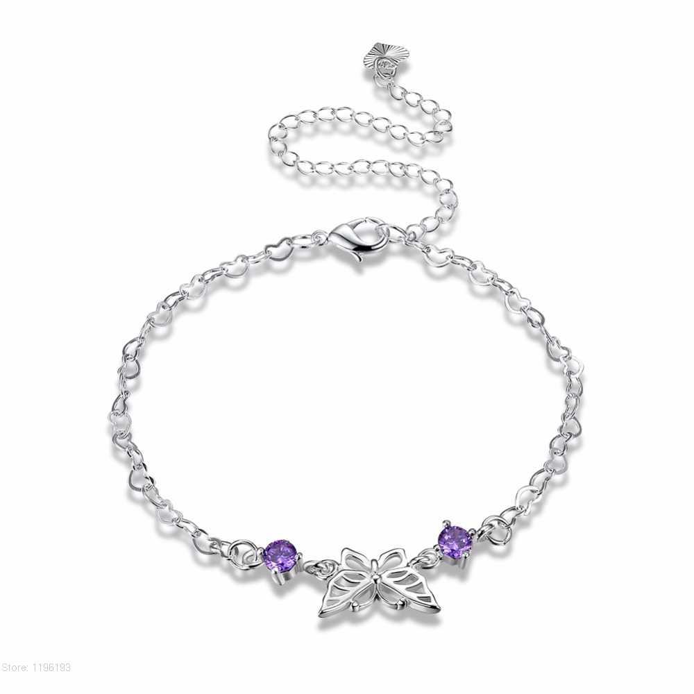 シルバーメッキ蝶紫色のジルコン女性のためのチャームアンクレット足首のブレスレットに脚アンクレットシルバーカラージュエリー