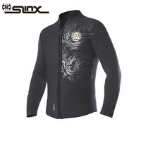 slinx diving wetsuits jacket 5mm neoprene fleece lining wetsuit zipper cuff for winter snorkeling surfing chinese dragon printed