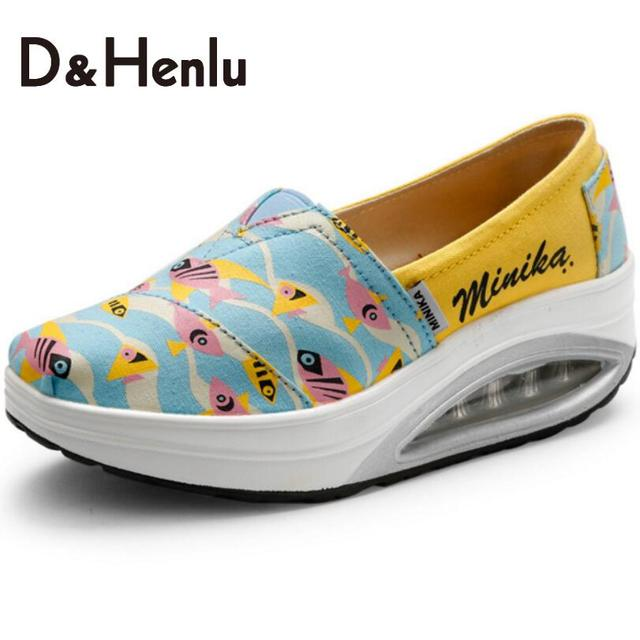 {D&H}Air Cushion Soles Fish Print Swing Wedges Casual Shoes Women Platform Lady's Canvas Shoes Women's Vulcanize Shoes