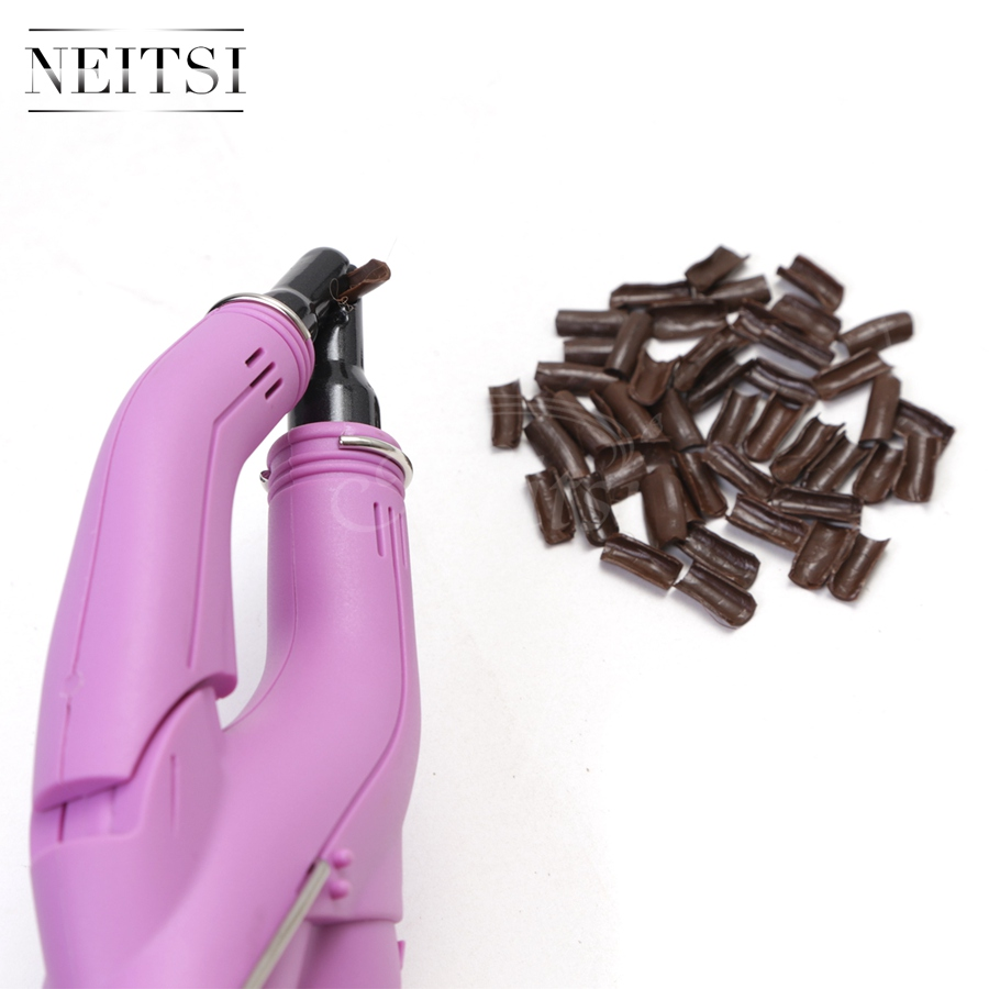Neitsi 1PC Pink US Plug Hair Connector 50pcs U Shapped Keratin Glue 3 Colors For Hair Extensions in Connectors from Hair Extensions Wigs