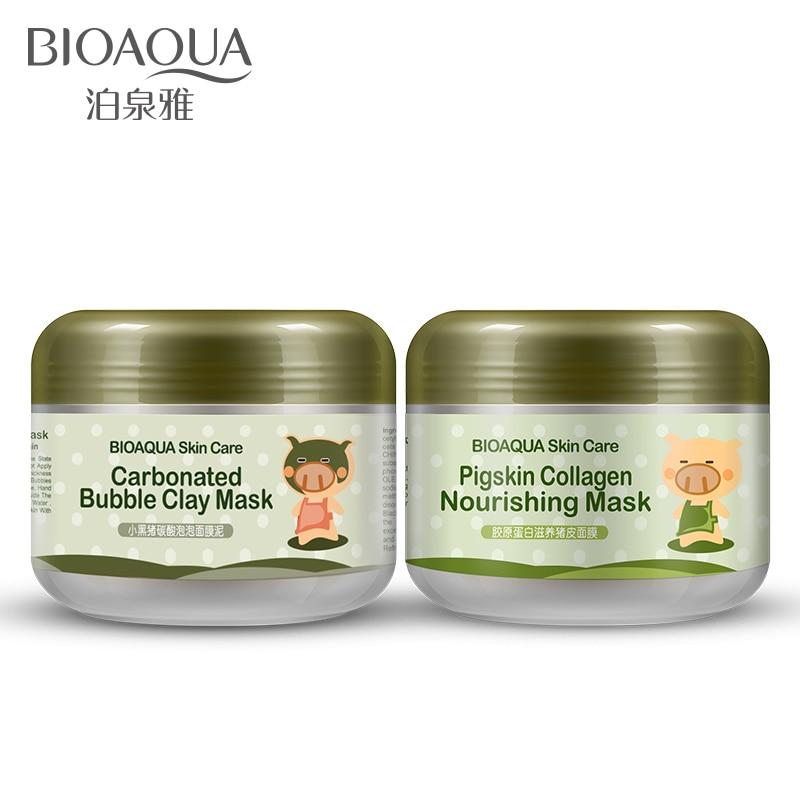 2 Pcs BIOAQUA Carbonated Bubble Clay & Collagen Nourishing Face Mask Elastic Care Skin Brightening Moist Skin Care Facial Mask