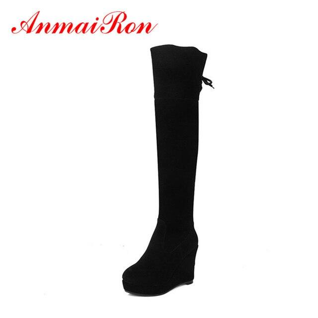 b3a9a528a505d ANMAIRON tacones altos Zippers botas de invierno zapatos mujer botas largas  de plataforma zapatos cuñas punta