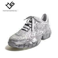 IGU спортивная обувь для женщин бренд дизайн 2019 новые с кристалалми и стразами модные zapatillas mujer Plataforma обувь, увеличивающая рост женские кросс