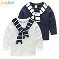 Jiuhehall 2017 Hot Sale Spring Autumn Children's T-Shirts Long Sleeve Boy Girls T Shirts With Fake Scarf O-Neck Kids Tops CMB841