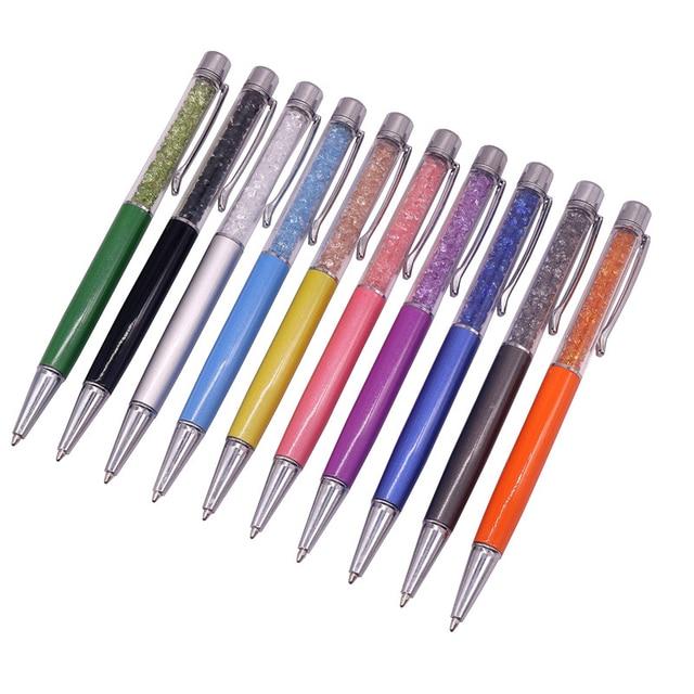 GOOD QUALITY Delicate Crystal Pen Diamond Refills Office School Supplies Pens Pencils Writing Ballpoint Pens Gift Pen Nib 0.7mm