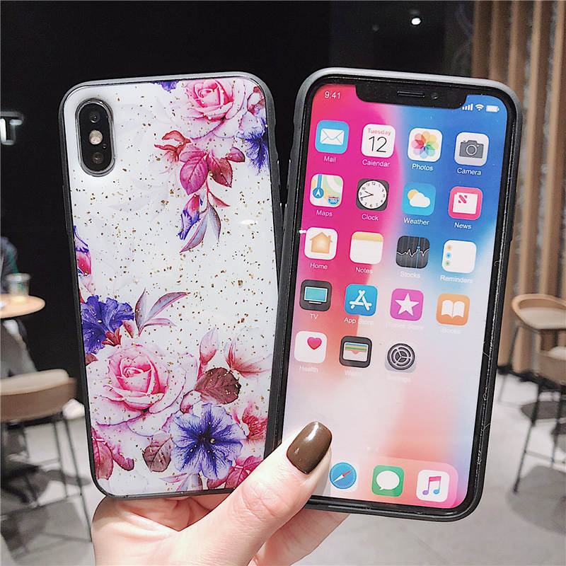 Gold Foil Flower Silicon Phone Case For iPhone 7 8 Plus XS Max XR Rose Floral Cases For iPhone X 8 7 6 6S Plus Soft TPU Cover in Fitted Cases from Cellphones Telecommunications