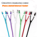 Portátil multifunción micro usb cable para android ios apple 6 s/6 p línea de carga de datos cable de carga del teléfono móvil portátil 2 in1