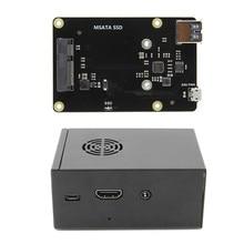 X850 V3.0 mSATA SSD GPIO Micro USB Stoccaggio a Bordo + Caso Per Raspberry Pi 3 B +