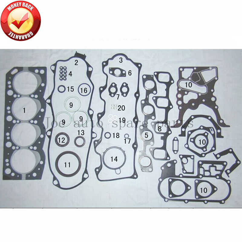 Jogo conjunto completo da gaxeta do motor 2lt 2l-t para toyota land cruiser/4 corredor/hilux/hiace/mark 2446cc 2.4td 04111-54103 04111-54251 202623