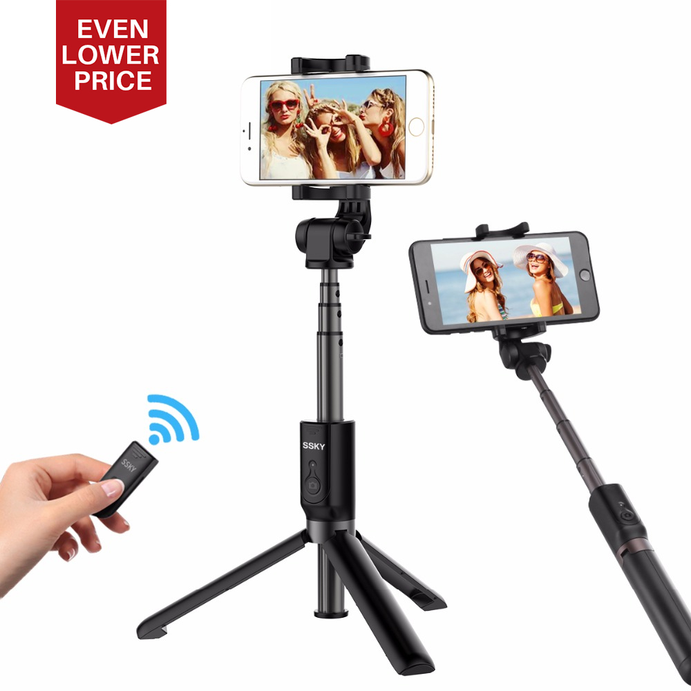 Ulanzi 3 in 1 Handheld Phone Tripod Selfie Stick Extendable Monopod with Bluetooth Remote Control for