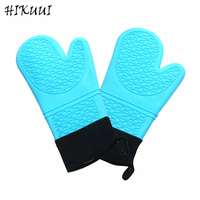 2 PCS Blue Heat Resistant Silicone Oven Gloves 14 Inchs Grill Microwave Oven Mitts Kitchen Barbecue