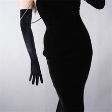 Black Velvet Women Gloves 60cm Long Vintage High Elasticity Evening vestido Fashion Elegant Lady Mittens TB20-9