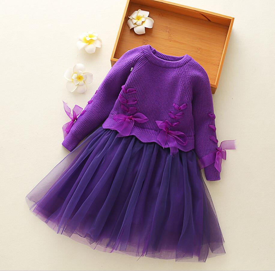 Girls Dress Winter Brand Knitted Sweater Dress Princess Costume Girls Pullovers Kids Clothes Children Dress Long Sleeve HW2176