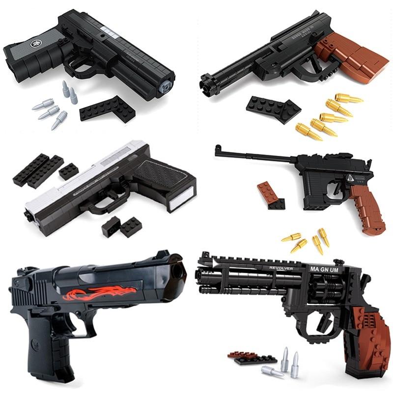 Toy gun building blocks UZI submachine gun Model military