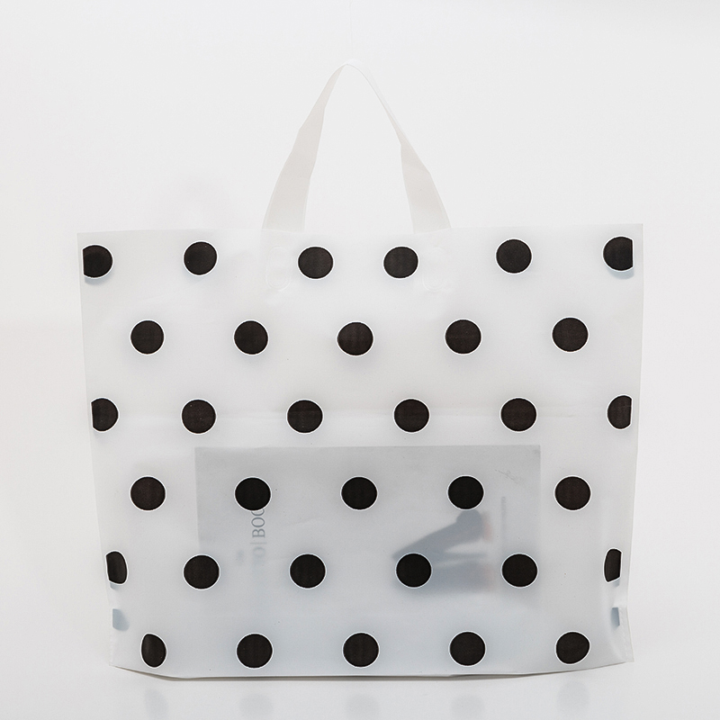 Wholesale 48pcs/lot Thicken Large Plastic Shopping Bags For Boutique Packaging White Round Dots Red Plastic Gift Bag With Handle