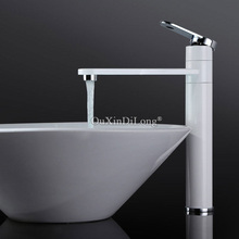 360 Degree Rotate Type Basin Mixer Tap Faucet White and Silver Chrome Finish Bathroom Faucets Single Hand JF1689