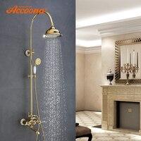 Accoona смесители для душа Тропический Душ Набор дуральная ручка настенное крепление роскошный латунный золотой смеситель для ванной комнаты