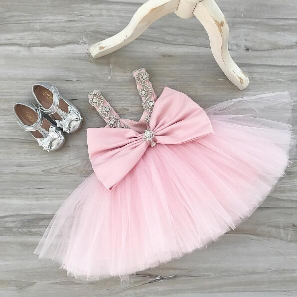 Sexy backless V-neck toddler girl blush pink evening party prom dress baby tutu birthday dresses crystal rhinestone sparkly gown