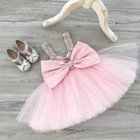 Sexy backless V neck toddler girl blush pink evening party prom dress baby tutu birthday dresses crystal rhinestone sparkly gown