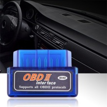 Горячий автомобиль Стайлинг Мини ELM327 OBD2 II беспроводной Bluetooth автомобилей диагностический интерфейс сканер инструмент синий Портативный