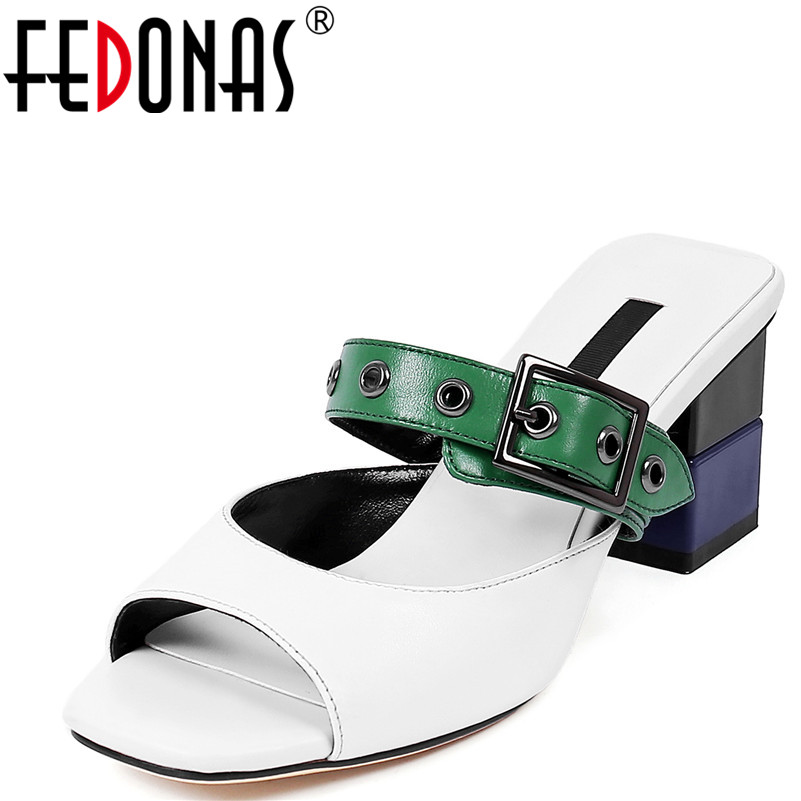 FEDONAS Women Sandals Summer Genuine Leather Shoes Woman Flip Flops Ladies High Heeled Sandals Women Retro Elegant Slippers