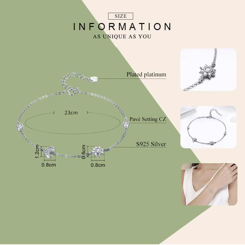BISAER oryginalna 925 srebro księżyc, gwiazda i słońce Chain Link bransoletka dla kobiet prezent urodzinowy srebrna modna biżuteria HSB081