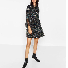 2016 Elegant Party Dresses For Women Floral Print Dress Flare Sleeve Loose Dress Autumn Stand Collar