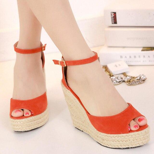 2017 summer new wedge platform high-heeled women sandals straw large size 41 42 43 women's sandal ladies shoes sandalias mujeres