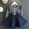 Anlencool Dois-peça Meninas Vestido De Princesa Outono Vestido Longo-luva Listrada T-shirt + Sling Vestido Denim 2 pcs para o Bebê Vestidos