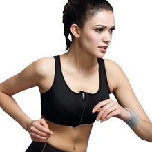 Newest Style Women Wirefree Sports Bra High Intensity Shakeproof Gym Running Tank Top Vest Adjustable Strap Black