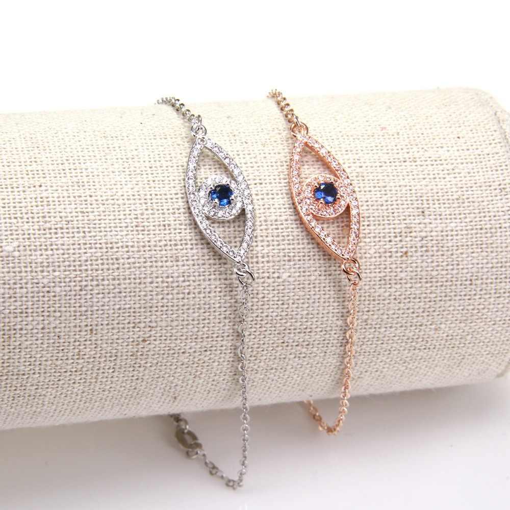 תומאס קישור שרשרת צמידי עם נזאר תורכי כחול עין מקשר, 18 + 4 cm, אירופאי תכשיטים זוהר עבור נשמת מתנת נשים TS B51