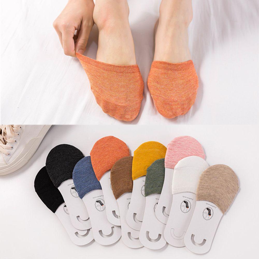 2019 Women Simple Solid Sock Slippers Half Grip Foot Toe Socks Summer Thin Invisible Socks Feet Women's Fashion Socking Female