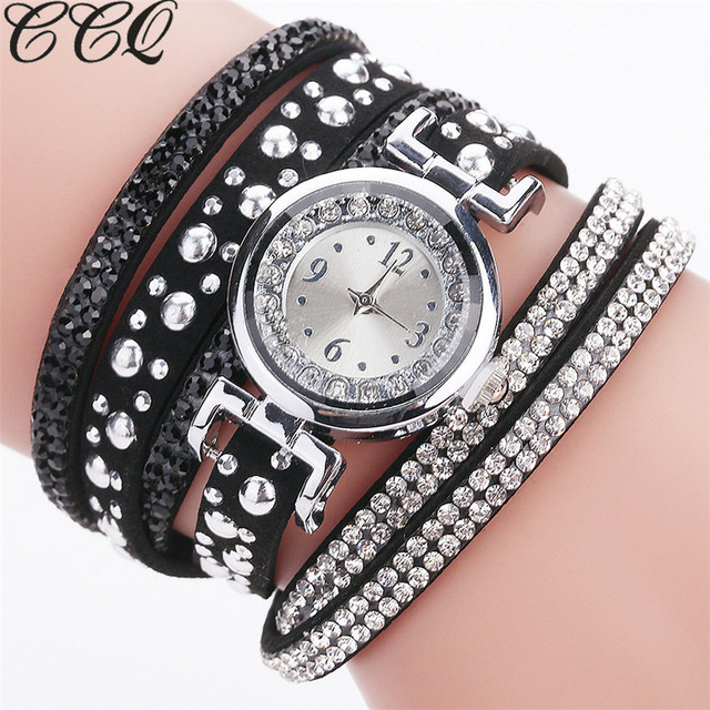 CCQ Brand Fashion Luxury Rhinestone Bracelet Watch Women Quartz Watch Ladies Cas