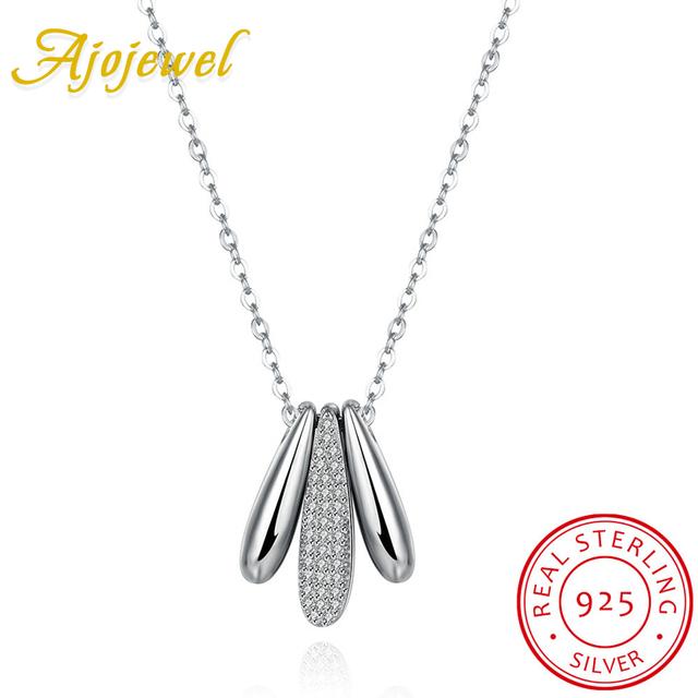 Ajojewel personalizada micro pave cz mujeres auténtica plata de ley 925 joyas de plata 3 collar colgante de bala moda
