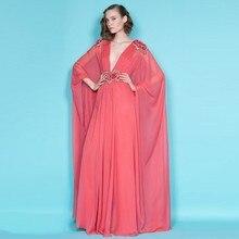 Ethnischen Stil Korallen Rot Lange Formale Kleider Saudi-arabien Mit Einzigartige Ärmel Abendkleider Delicate Appliques Tiefem V-ausschnitt
