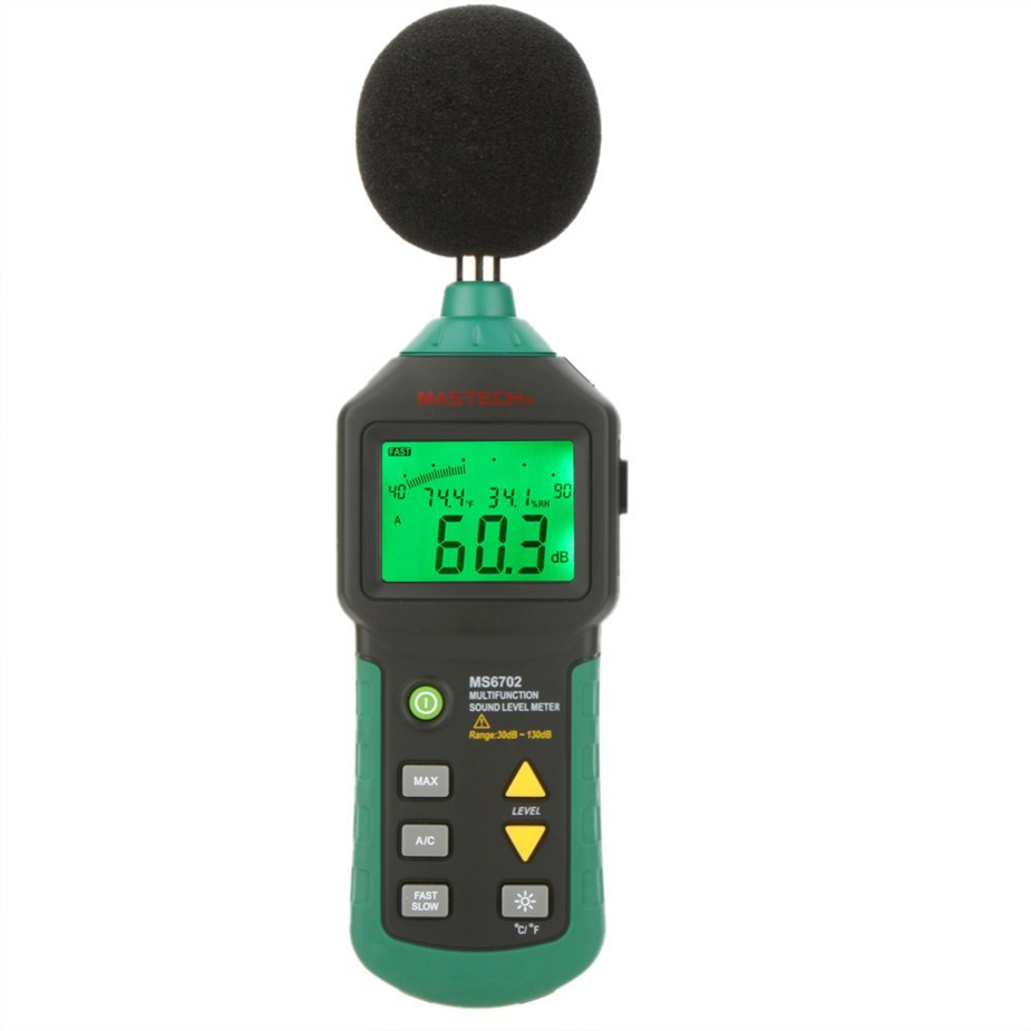 MASTECH MS6702 Digital Sound Level Meter Noise Meter 30dB~130dB DB Decible Meter Tester Temperature Humidity noise sound level meter tester 30 130db ar824