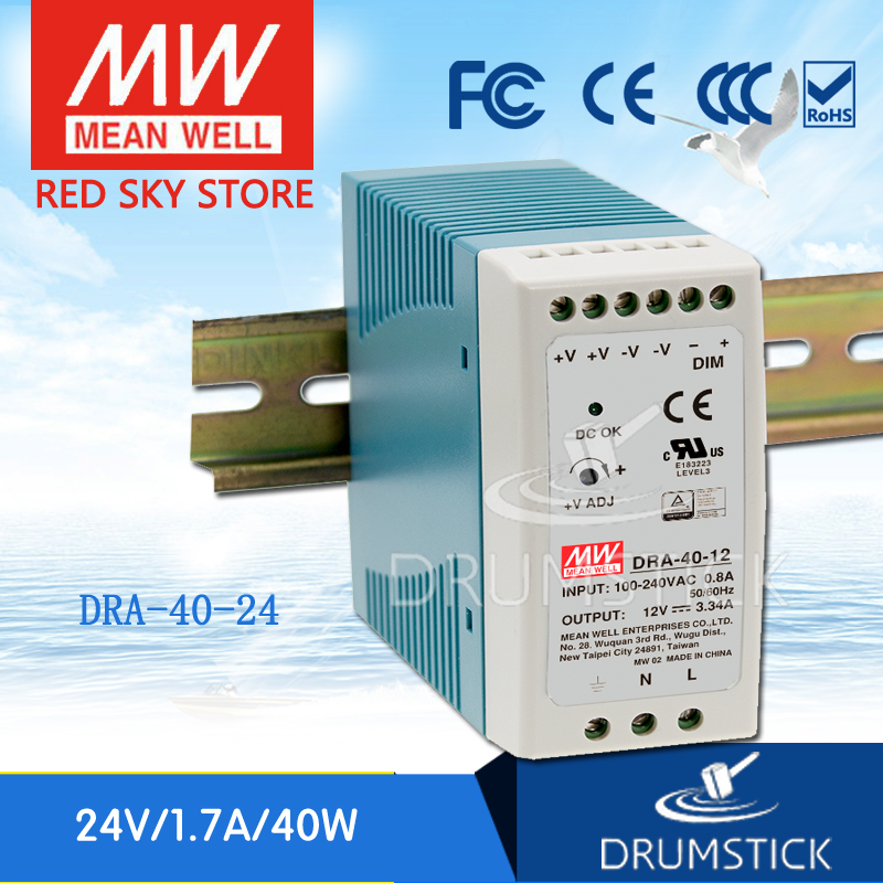 Hot sale MEAN WELL DRA-40-24 24V 1.7A meanwell DRA-40 24V 40.8W Single Output Switching Power Supply ванна victoria albert drayton dra n sw of ft dra sw