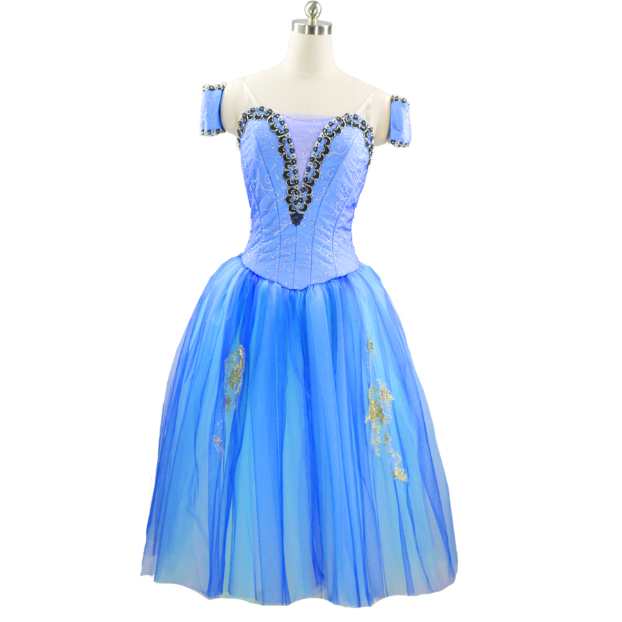 Blue Professional Ballet Tutu Ballet Long tutu Blue lyrical Custom Made Ballet Long Dress Ballet Romantic Tutu For Women