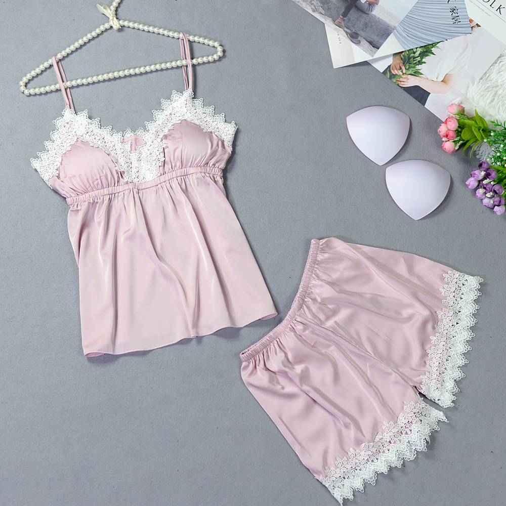 Pajama Set Women Spring Summer Silk Sexy Pyjamas Lace Sling Satin Sleepwear Shorts Sleeveless Ladies Home Clothing 2Pcs