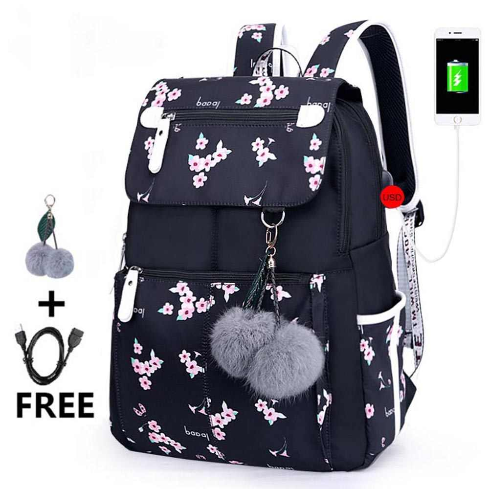 55540b1ada00 Feather Printing Laptop Backpack School Backpack For Girls Bookbag ...