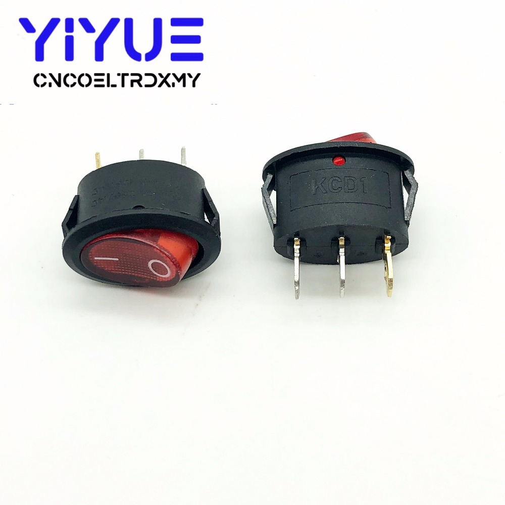 5Pcs Rocker Switch Ellipse Red With lamp KCD1 3Pin two position Seesaw Power switch  6A250VAC 10A125VAC