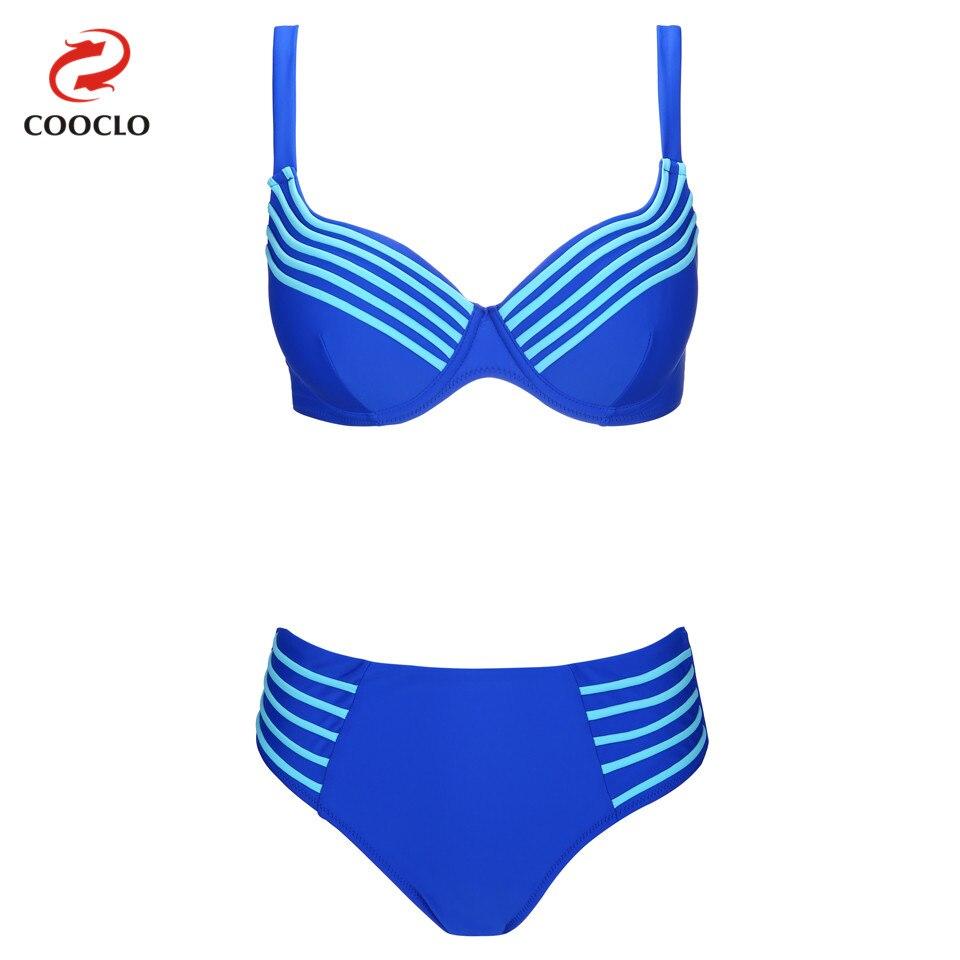 COOCLO Plus Size Bikini Sexy Women Swimwear Contrast Color Striped Patchwork Beachwear Push up Swimsuit Bathing Suit Biquini