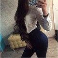 Hgh Calidad Mujer Stretch Bodycon Denim Jeans Pantalones Vaqueros de La Nueva Llegada Sólido de Cintura Alta de Ropa Pantalones Para Las Mujeres