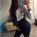 Hgh Quality Woman Stretch Jeans New Arrival Bodycon Denim Jeans Pants Solid High Waist Clothes Pants For Women