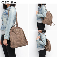 CEZIRA Fashion New Pu Vegan Leather Backpack Multi Zip Pockets Knapsack Women High Quality Bags Daily Holiday Shoulders Bags